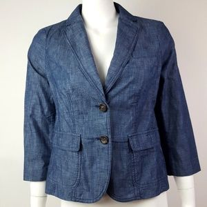 Talbots Blue Chambray Jacket Size 4